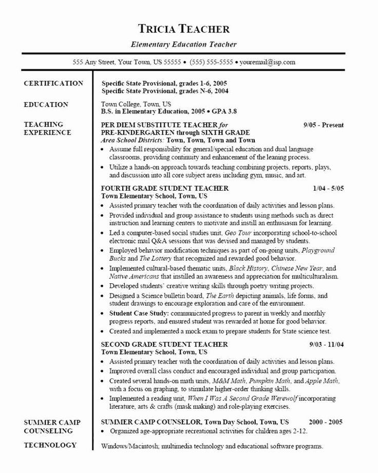 Substitute Teacher Resume Examples Inspirational