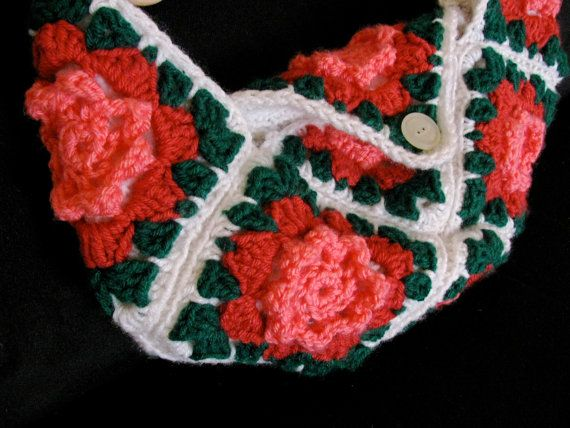 Lined Flower Crochet Bag, crochet Purse, Pink White Green