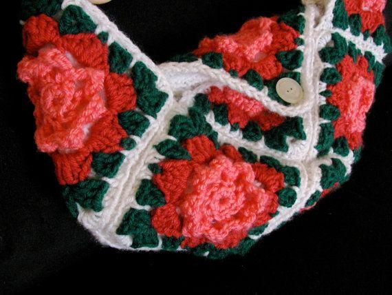 Lined Flower Crochet Bag, crochet Purse, Pink White Green