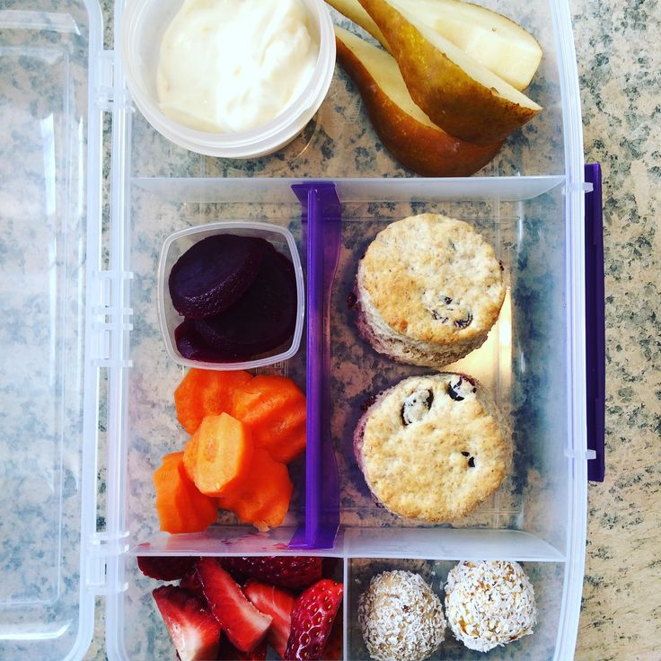 Lunch box idea : Greek yoghurt  Sliced pear  Beetroot  Crinkle cut carrot  Strawberries  Apricot bliss balls  Wholemeal cranberry scones