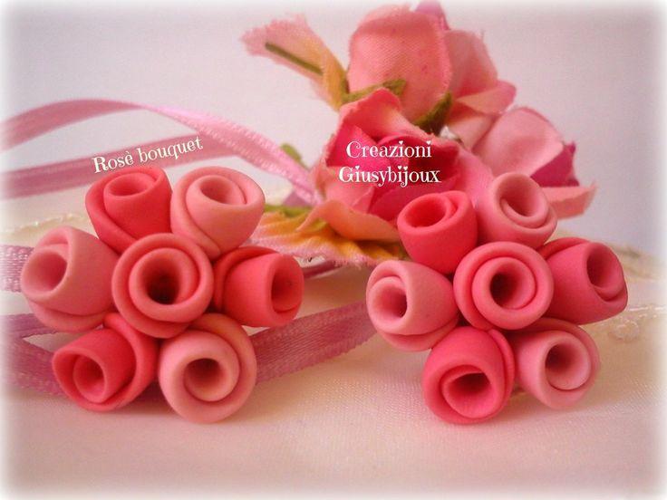 #Orecchini a #lobo rosè bouquet in #fimo collezione #bouquet di #rose rosa  #sposa fatto a mano , by @CreazioniGiusy, 10,00 € su misshobby.com