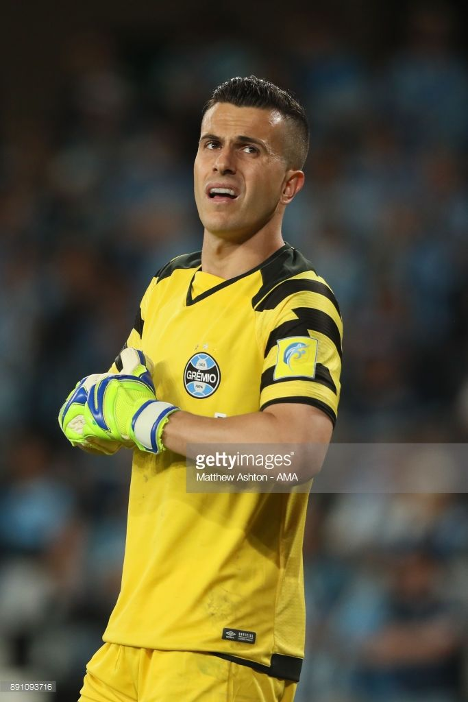 Marcelo Grohe of Gremio FBPA in action during the FIFA Club World Cup UAE 2017 semi-final match between Gremio FBPA and CF Pachuca at Hazza Bin Zayed Stadium on December 12, 2017 in Al Ain, United Arab Emirates.