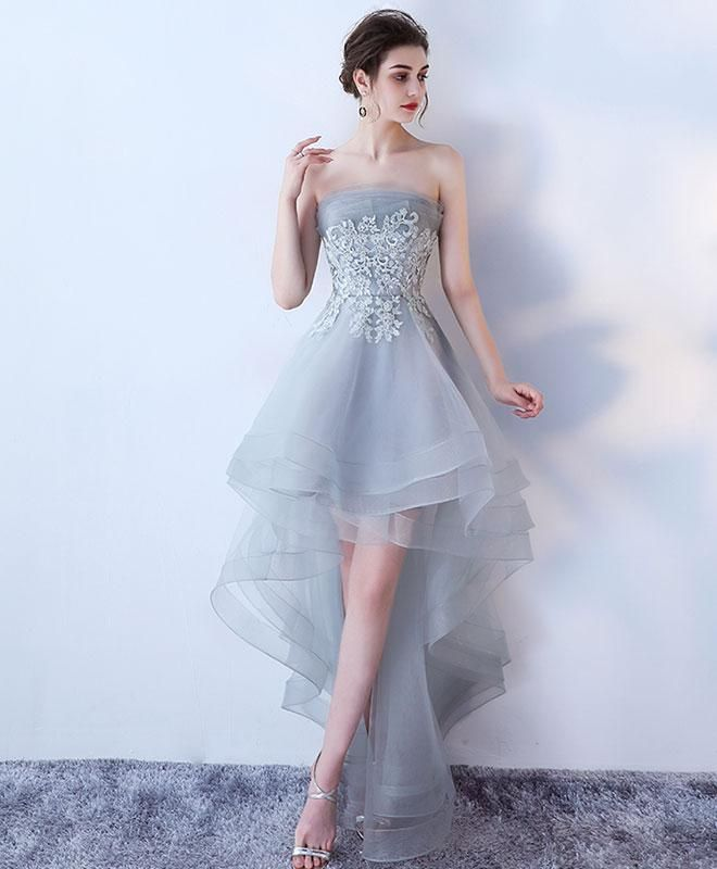 23df583c49d8 Gray tulle lace high low prom dress