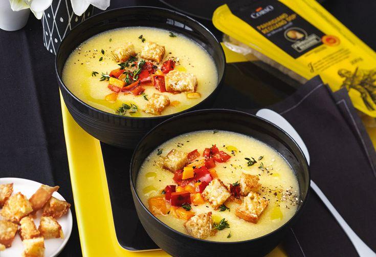 Polentasuppe mit Ofengemüse und Parmesan-Croûtons