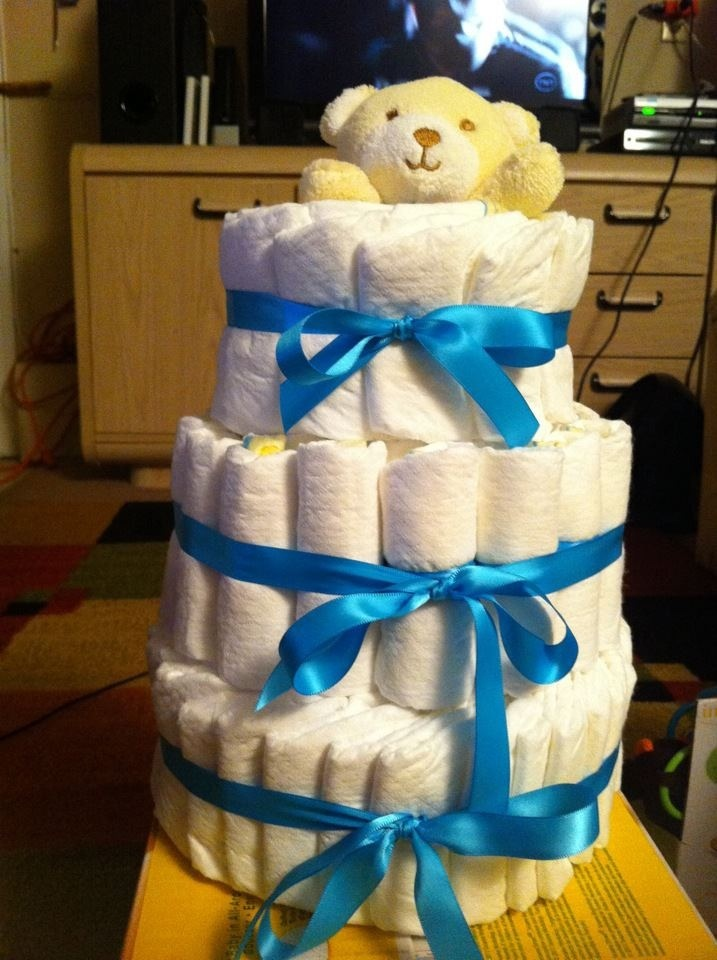 Simple bear baby diaper cake :-)