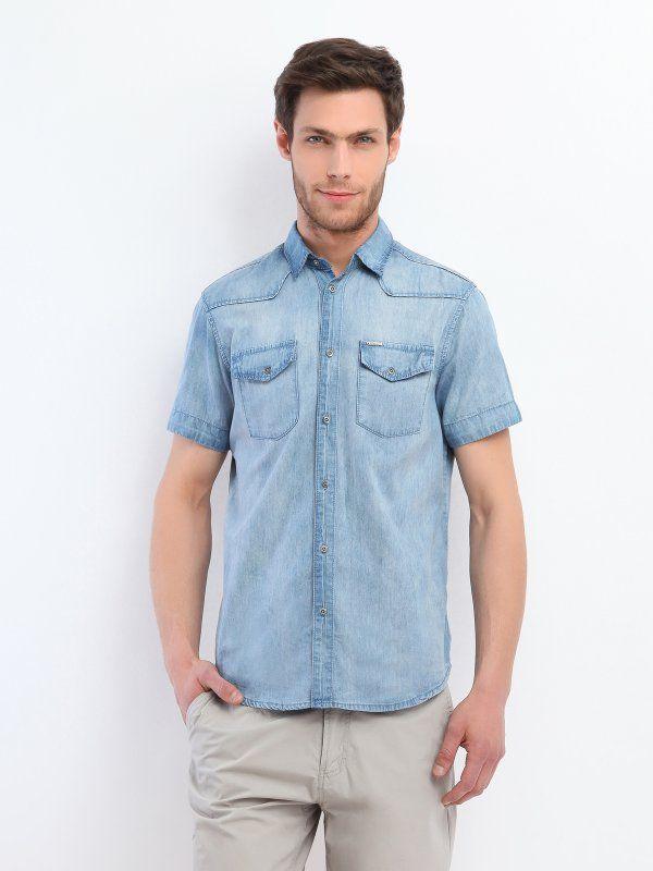 Koszula męska Top Secret z kolekcji wiosna lato 2014. Modna jeansowa koszula z krótkim rękawkiem.  #shirt #jeans #koszule