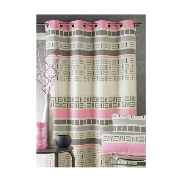 Rideau en jacquard design à rayures horizontales