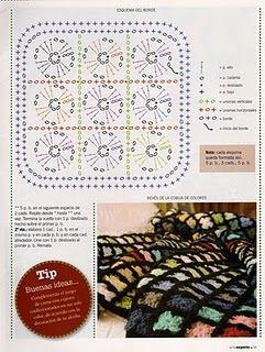 GRÁFICOS: clique na imagem para ampliar: GR2 Colcha de crochê arco-íris
