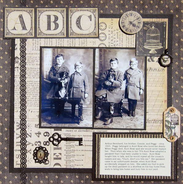ABC...this simple monochromatic page has a great newsprint and ephemera background that highlights the adorable children's portraits.