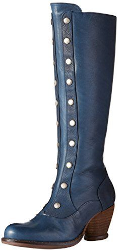 John Fluevog Women's Dallas Tall Boot, Petrol, 6.5 M US