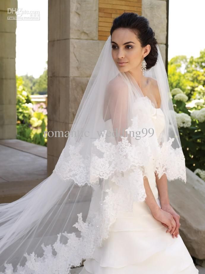 Wholesale Wedding Veils - Buy Graceful Lace Cathedral Length Train Wedding Veils 2 Layers Tulle Bridal Veils Accessory, $43.83 | DHgate