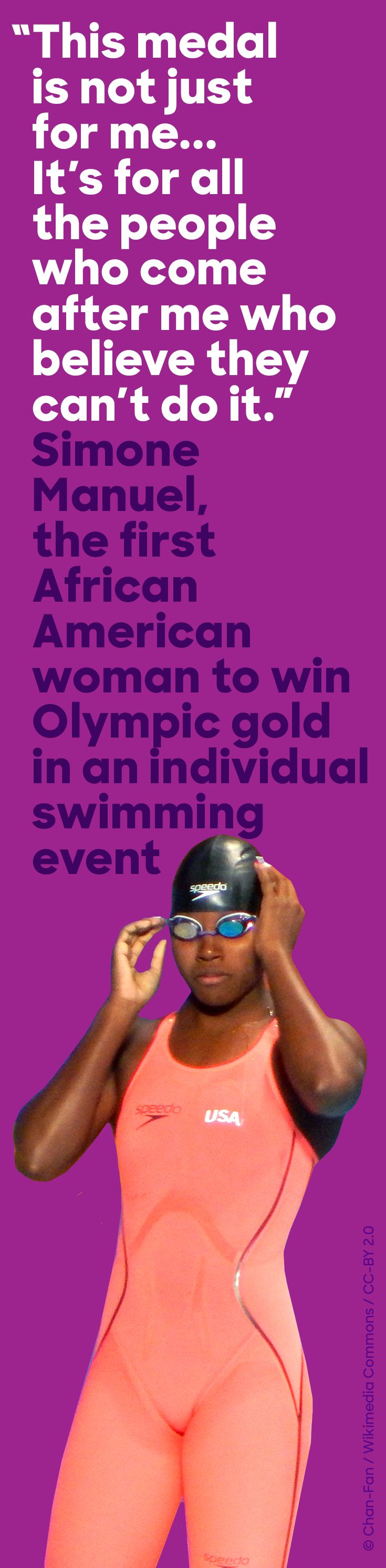 In Rio, U.S. Olympic swimmer Simone Manuel won gold and made history.      This was one of my favorite moments during these games!!!!
