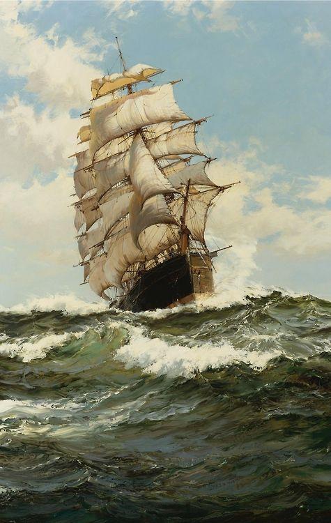 Montague Dawson: The Oberon   (Montague Dawson.....A Master at seas and sailing ships )