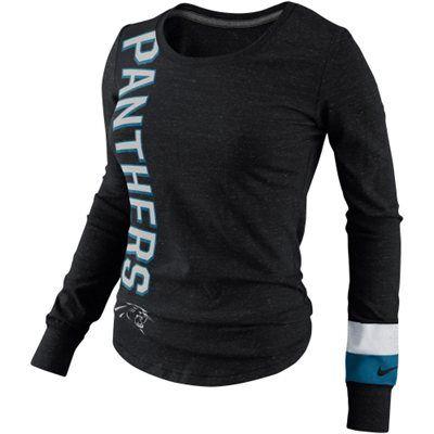 Nike Carolina Panthers Go Long Ladies Long Sleeve T-Shirt - Black