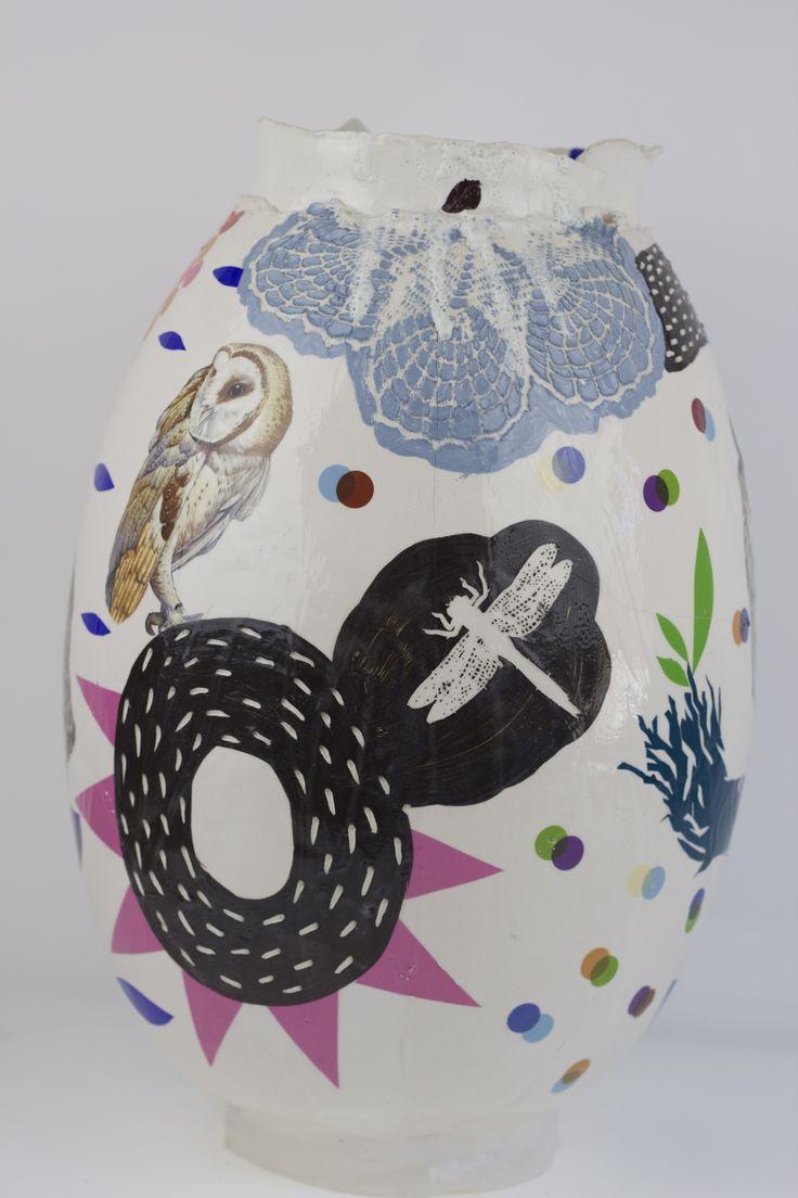 Modern fajance vase by Annemette Klit
