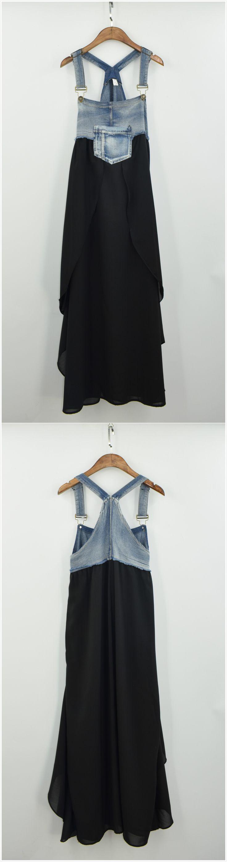 Women's Fashion Summer Denim Chiffon Midi Overalls Dress
