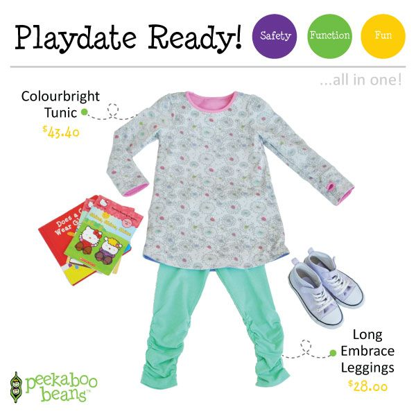 Colourbright Tunic - Now $43.40 (reg.$62.00) & Long Embrace Leggings - $28.00! | Peekaboo Beans - playwear for kids on the grow! | Contact your local Play Stylist or shop On-Vine at www.peekaboobeans.com | #PBPlayfulPairings