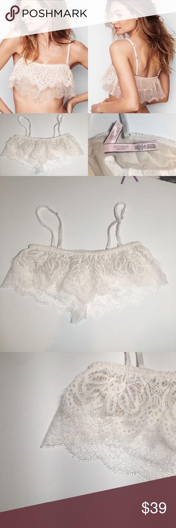 Victoria's Secret lace crochet flutter Bralette B720- NWT Victoria's Secret dream angels  White lace crochet flutter Bralette size xs removable straps . Victoria's Secret Intimates & Sleepwear Bras