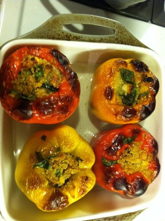 Couscous stuffed roasted peppers | Cooking Ideas | Pinterest