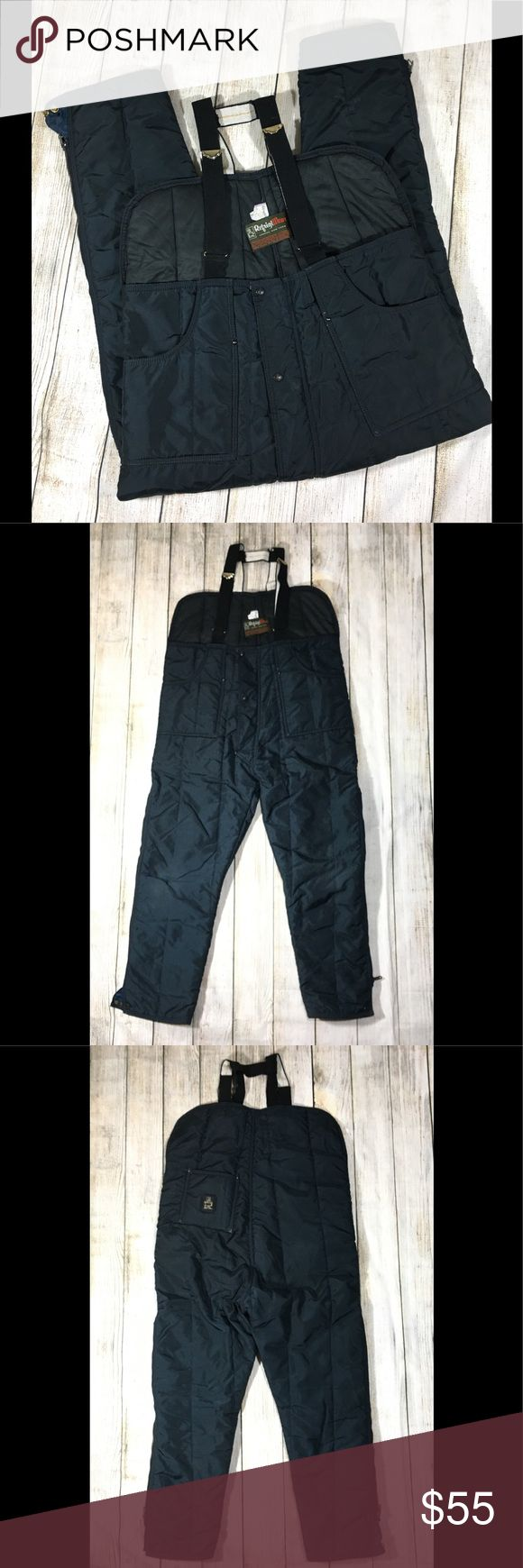 """Refrigiwear Iron Tuff Insulated Bib Overalls 345 Refrigiwear Iron Tuff Mens Large Womens 12 14 VTG  Style No: 345   Navy  Low Bib  Insulated Overalls  USA MADE ALSO fits Women 12 14 -- Some wear on knees, right knee has a small repair -- otherwise in GREAT Vintage Condition! Top width: 21.5"""" Width at base of zipper: 25"""" Rise: 17.75"""" Inseam: 29.5"""" Refrigiwear Jackets & Coats"""