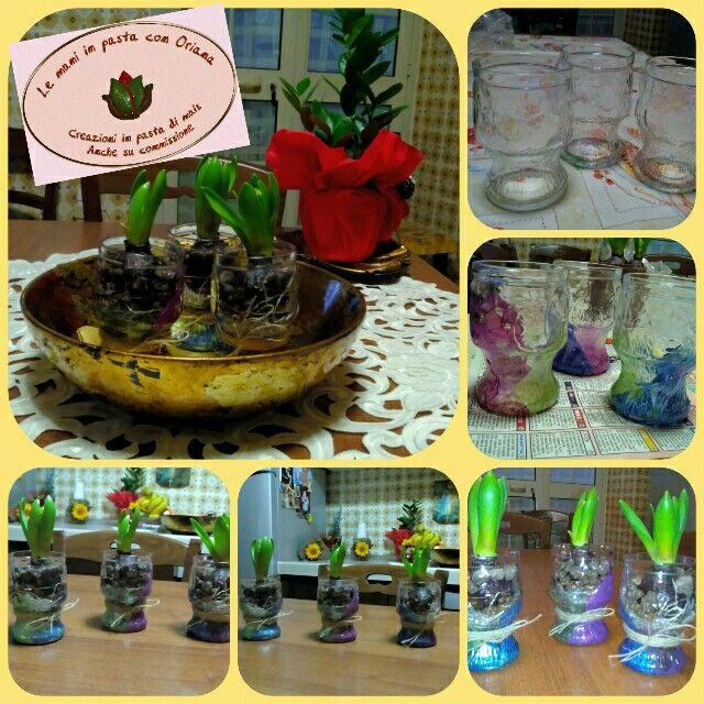 Le mani in pasta con Oriana, Bicchieri Giacinti, bicchieri in vetro porta bulbo, riciclo creativo.