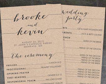 Rustic Wedding Program Printable Wedding by KarlyKDesignShop