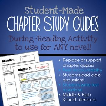 FREE for a short time! Students make chapter study guides - assess literal comprehension, summary, theme, and more - students lead in-class discussions and write test questions! Use during reading instead of chapter quizzes (or in addition). Use for ANY middle or high school literature unit!