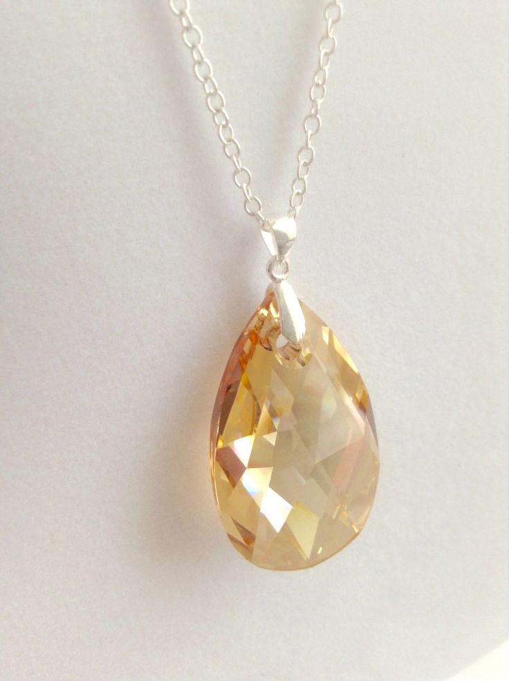 Gorgeous Golden Swarovski Crystal and 925 Sterling Silver Bail and Chain Necklace by BecauseIamHappy on Etsy