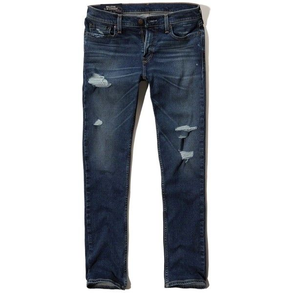 Hollister Slim Straight Jeans (460 MXN) ❤ liked on Polyvore featuring men's fashion, men's clothing, men's jeans, dark wash, mens distressed denim jeans, mens destroyed jeans, mens faded jeans, mens ripped jeans and mens slim straight jeans