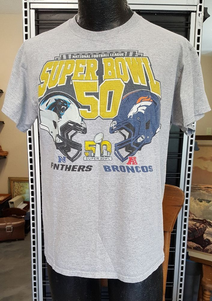 Super Bowl 50 Broncos Panthers Mens Size M Medium T-Shirt NFL Graphic Majestic #Majestic #tshirt