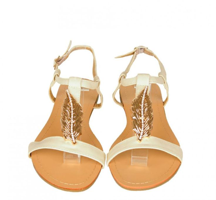 Sandale Dama Leaf Beige  -Sandale dama  -Detaliu auriu cu strasuri  -Talpa joasa  -Se inchid cu catarama