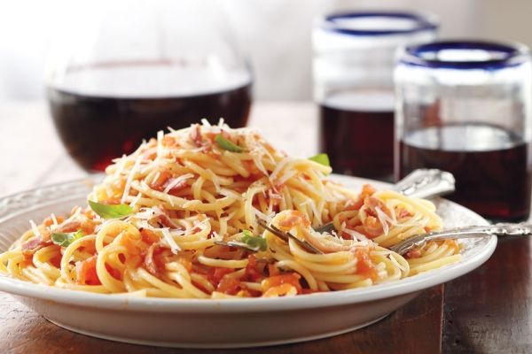 Spaghetti With Amatriciana Sauce - Named for the Italian region of Amatrice, where it originates, this simple sauce is at the heart of classic Italian cooking – a few ingredients and delicious results for dinner.