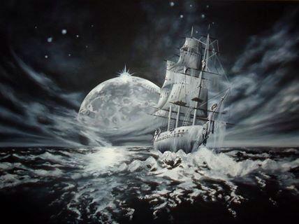 Hayalet gemi,yağlı boya,picture