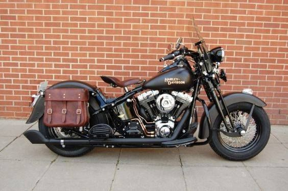 Harley black with brown saddle and bags