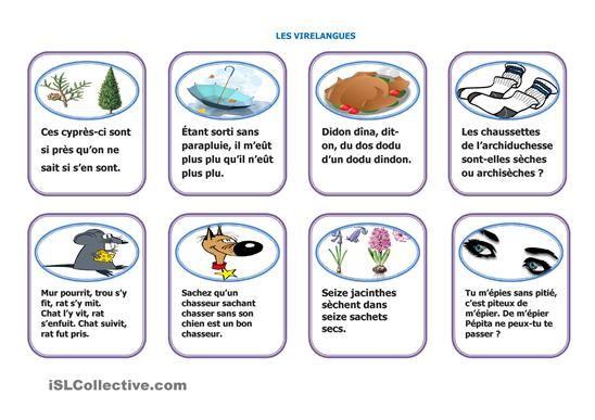 Un jeu ludique pour travailler la prononciation avec les virelangues. Par exemple, former des petits groupes qui se répartiront les cartes, puis faire évaluer les prestations par les autres groupes. Le vainqueur est l'équipe qui obtient le plus de points. - Fiches FLE