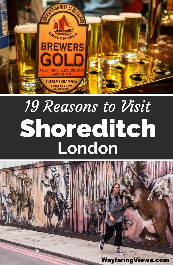 Shoreditch is London's coolest neighborhood. Take a few days for these 19 things to do in Shoreditch including: street art, markets, pubs and street food. East End London | Boxpark | Brick Lane graffiti | murals | Hipster England #england #london #Shoreditch