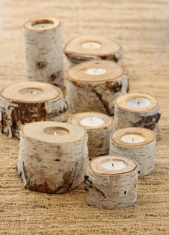 Set of 3 small Birch Candle Holders by SimplySofie on Etsy, $18.00