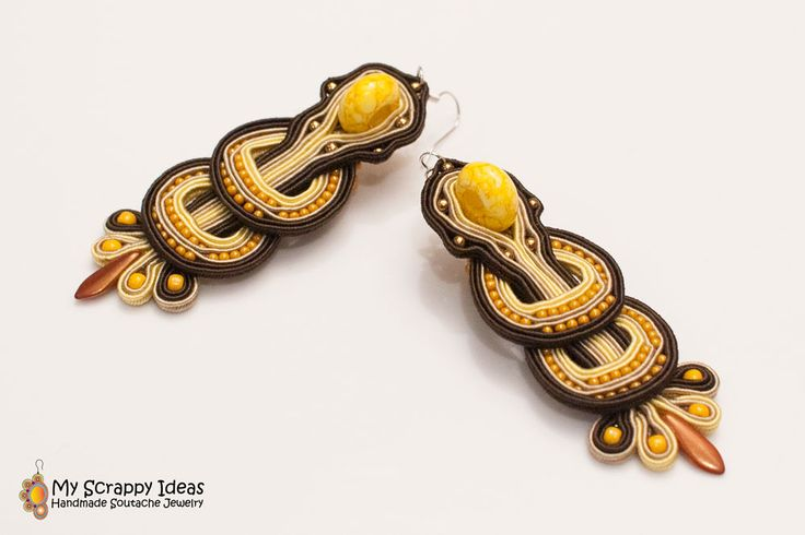 Long and stylish, handmade soutache earrings. Two-sided original design by Soutache.MyScrappyIdeas.com