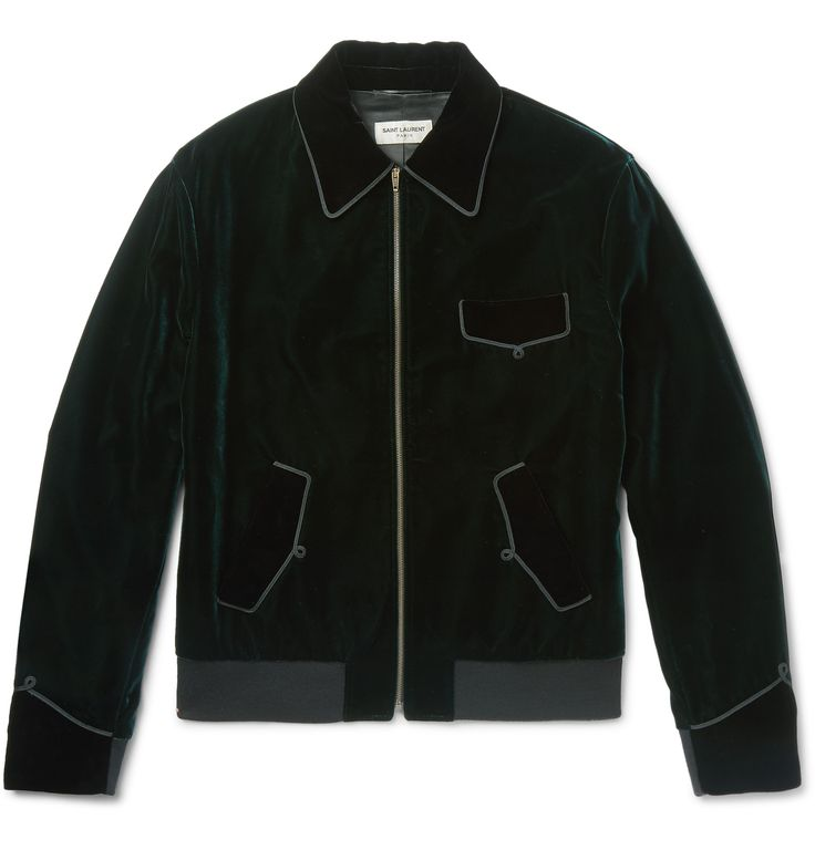 <a href='http://www.mrporter.com/mens/Designers/Saint_Laurent'>Saint Laurent</a>'s jacket has been crafted in Italy from plush emerald velvet. This four-pocket style is framed with elegant passementerie trims, giving the design a regal touch. It's cut in a semi-fitted shape and has a sleek satin lining so it will layer smoothly over your outfit. Wear yours with a printed shirt and skinny denim for after-hours drinks.