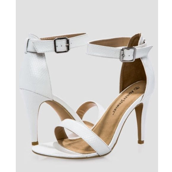 12W White Strappy Sandal Heels BRAND NEW White Strappy Sandal Heel 4 inch Heel Sueded Upper Manmade Material Ashley Stewart Shoes Heels