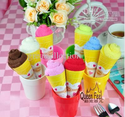 Wholesale Ice Cream Cone Cake Towel Shaped Napkins Birthday Party