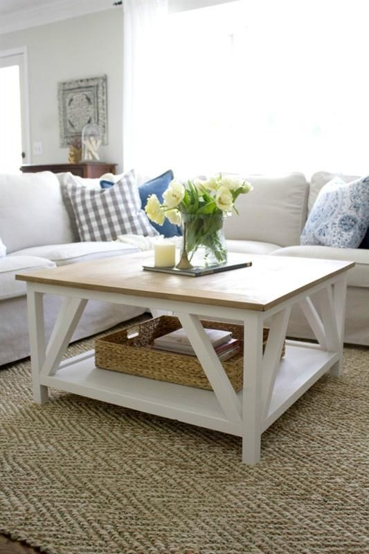 Classic Square Coffee Table With Painted Base And Rustic Stained Table Top  Complete With Bottom Shelf Part 70