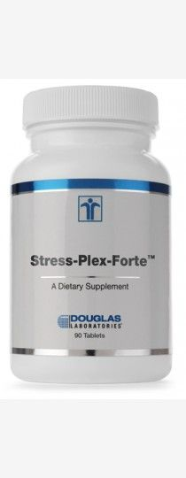 Stress-Plex-Forte by Douglas Laboratories High potency B-complex with vitamin C in a single tablet. Stress-Plex-Forte, from Douglas Laboratories, is a comprehensive B supplement providing all essential B vitamins and related nutrients, including a significant amount of vitamin C.