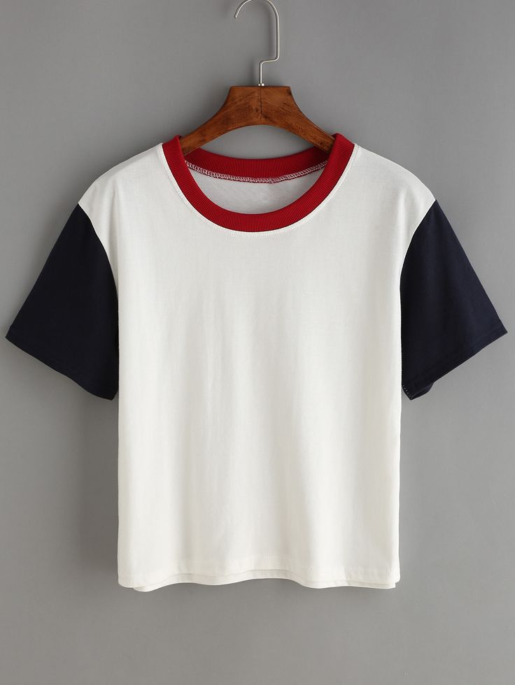 T-shirt col rond - blanc-French SheIn(Sheinside)