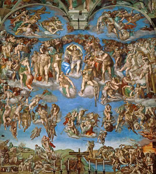 Bild:  Michelangelo (Buonarroti) - Sixtinische Kapelle, Deckenbild, Ausschnitt - Das Jüngste Gericht (Foto nach der Restaurierung)