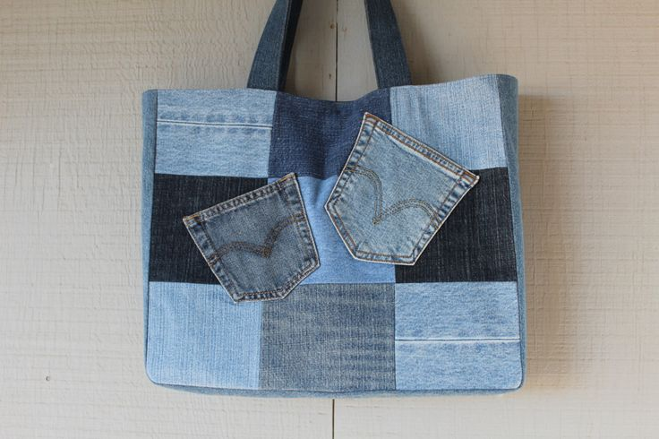 Two Pocket Front Denim Tote Bag - Fully Lined with Interior Pockets by AllintheJeans on Etsy