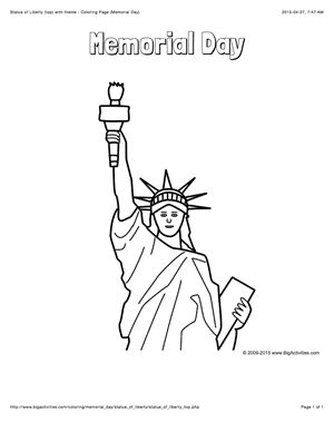Memorial Day coloring page with a picture of the Statue of Liberty to color