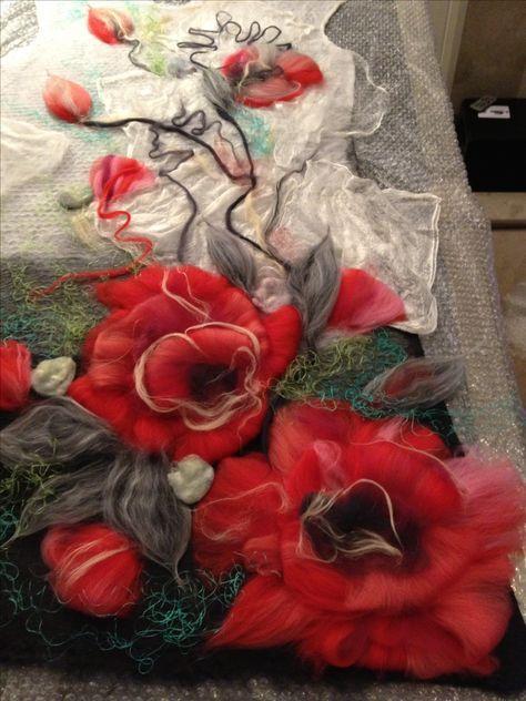 www.nadinsmo.com POPPIES - 100% handmade wool felted dress by Nadin Smo design