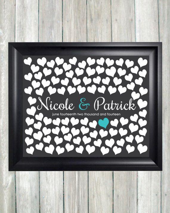 Wedding Guestbook Alternative Art Print, Custom Wedding Guest Book Poster, Signature Heart Wedding Guestbook, 100 Guests, Bridal Shower Gift by CaldsonDesigns, $38.00