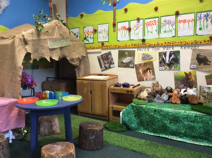 Percy the Park Keeper role play area at Springmead School, Beckington, UK. With puppets, British wildlife pictures, role play kitchen and Percy stories. We planned a party for Rabbit with the children, we wrapped presents, made cards and wrote invitations.